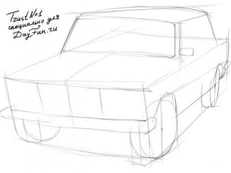 Як поетапно намалювати машину жигуль
