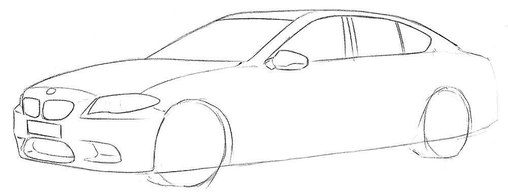 Поетапний малюнок машини