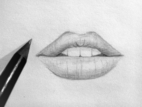 Як поетапно намалювати губи олівцем