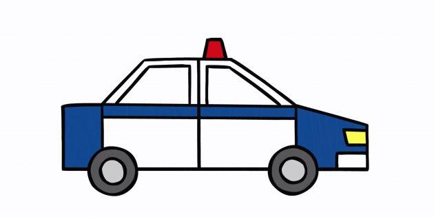 Як намалювати поліцейську машину