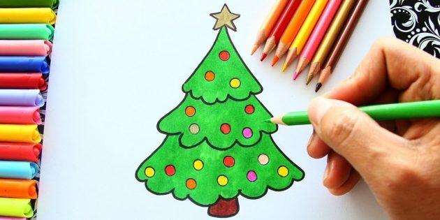 Як намалювати новорічну ялинку