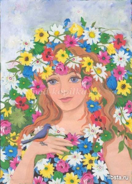 Як намалювати дівчину-весну