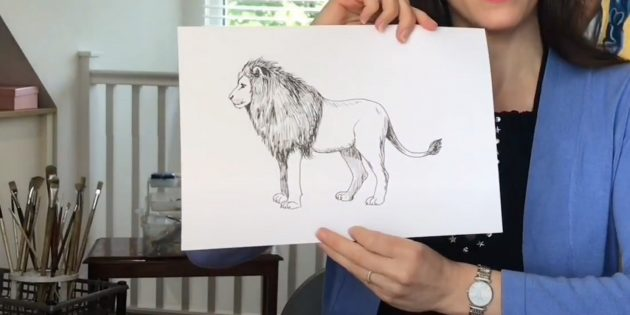 Як намалювати стоячого лева