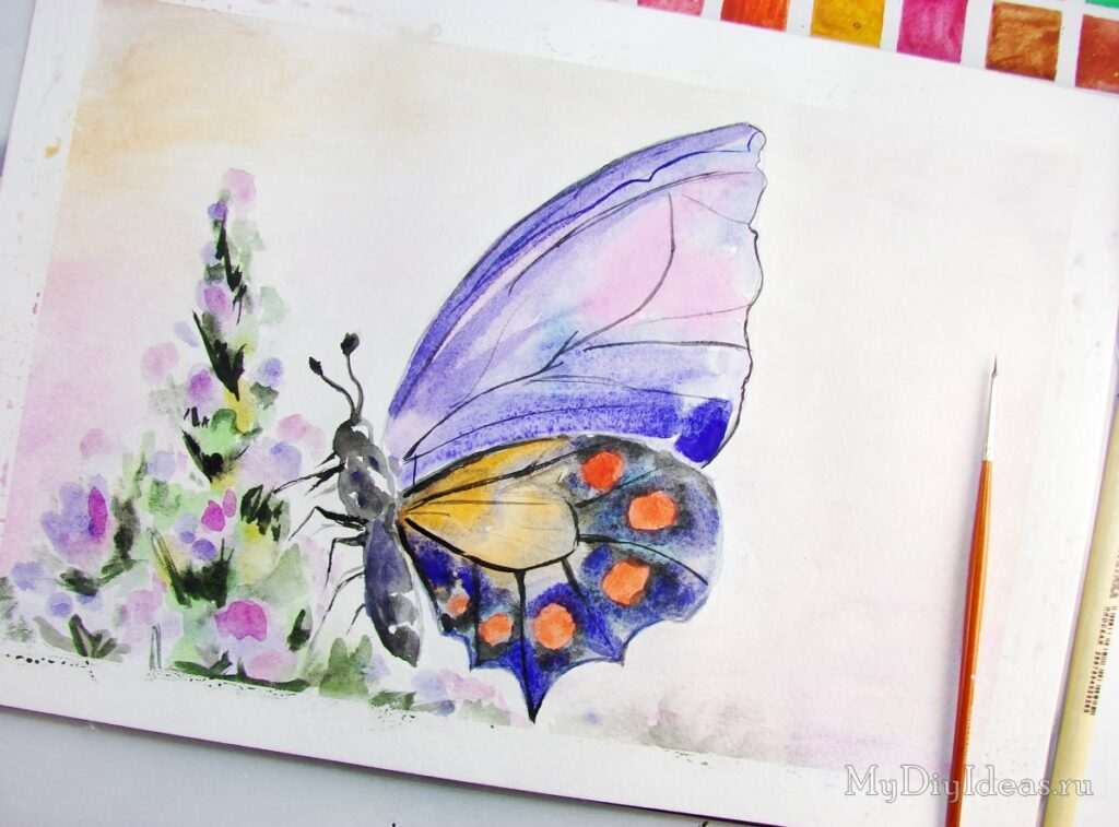 Як намалювати метелика красками