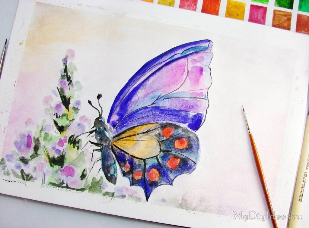 Красивий метелик красками
