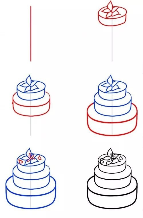 Як намалювати торт поетапно