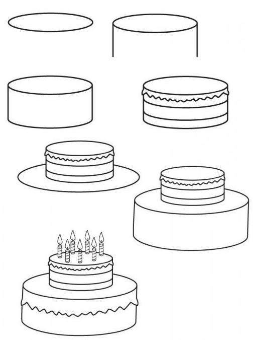Малюємо торт поетапно