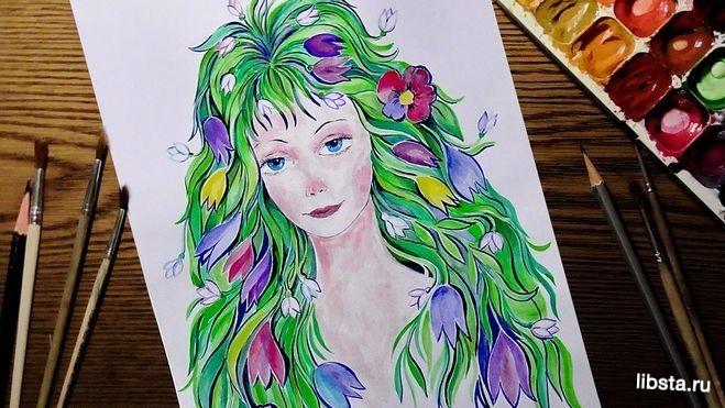 Дівчина-весна малюнок