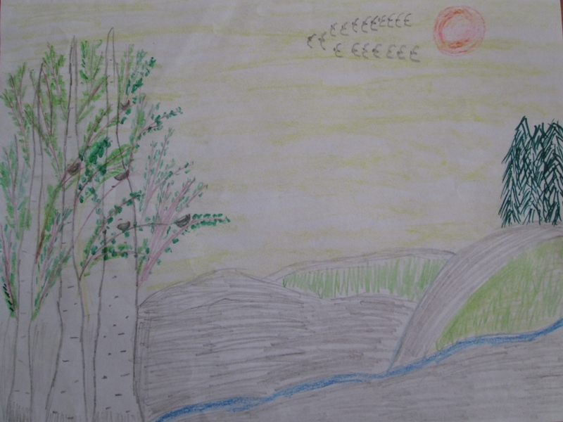 Як намалювати весну зразок