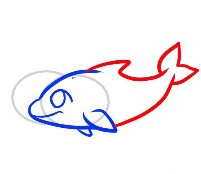 Дельфін малюнок дітям