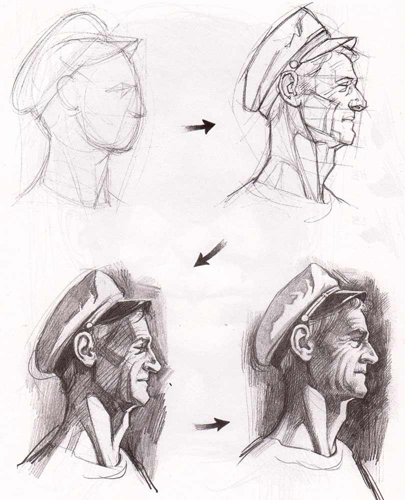 Поетапний малюнок лиця