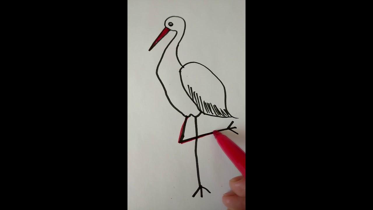 Як намалювати лелеку