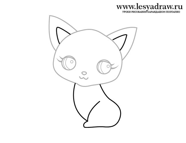 Поетапний малюнок кішечки