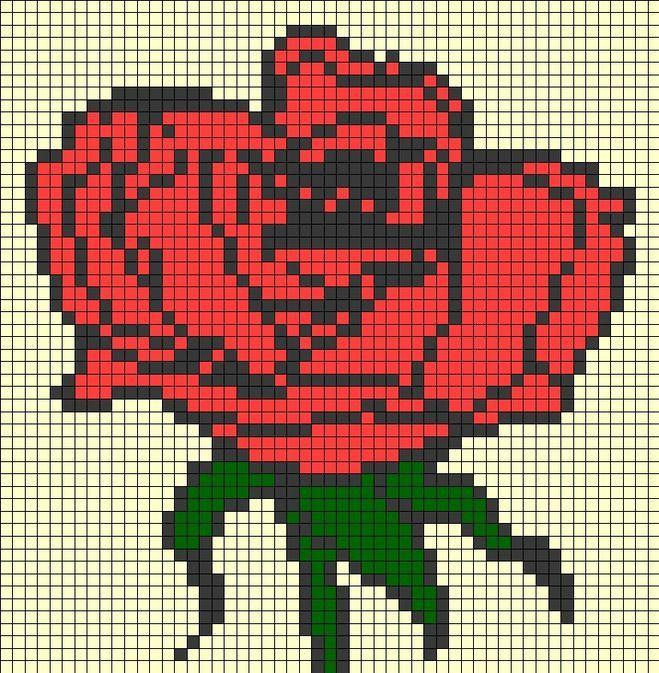 Великий бутон троянди по клітинках