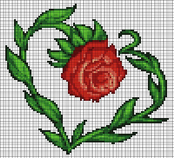 Як намалювати розу по клітинках