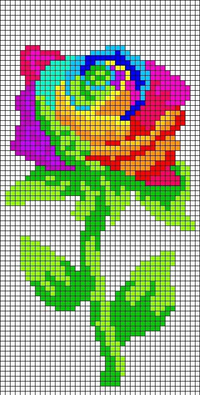Райдужна роза по клітинках