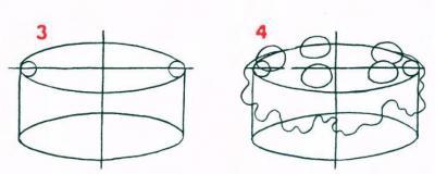 Як намалювати торт по схемі